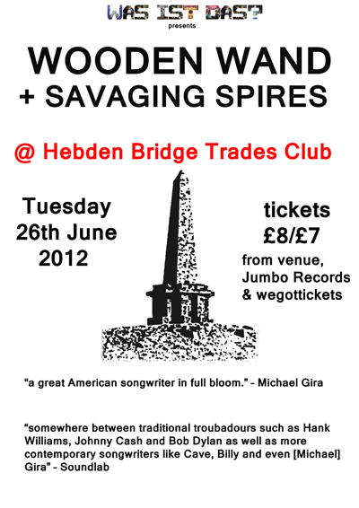 Wooden Wand Hebden Bridge Trades Club flyer poster